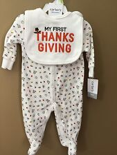 Boys Girls 3 Month My First Thanksgiving 2pc Set NEW NWT $24 Carter's Bib 1st