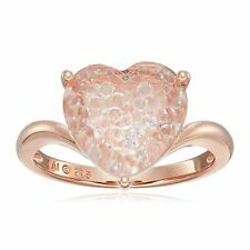 Created White Sapphire & Crystal Shaker Heart Ring in Rose Gold-Flashed Silver