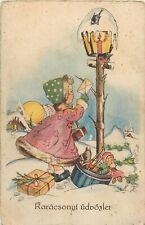 Hungary ww2 Christmas greetings postcard girl letter toys candle lamp bird