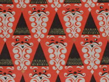 Vtg 1950 Christmas Store Wrapping Paper 2 Yards Gift Wrap Cute Santa Faces Mcm