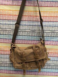 Mens AUGUR STRAUSS Brown Canvas Man Bag Messenger Bag LEATHER TRIM