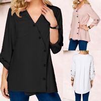 Women's Long Sleeve V Neck Asymmetric Buttons Shirt Wrap Tops High Low Blouse