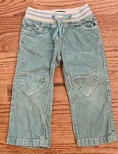 Mini Boden Girls Green Corduroy Pants Heart Pocket Knees Ribbed Waist Sz 2 Yrs