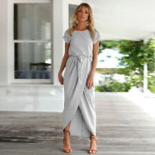New Womens Summer Long Maxi Belted Dress Evening Cocktail Beach Dresses Sundress
