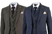 Costume 3 pièces homme tweed à chevrons laine mélangée bleu marron cintré