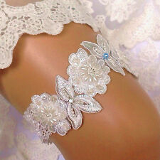 Luxury Lace Bridal Garter, Something Blue Pearl, Flower Beaded Wedding Bride