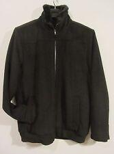 Manzini Winter Coat sz M 40 42 Black Fur Lined Collar Wool Jacket Zip Front