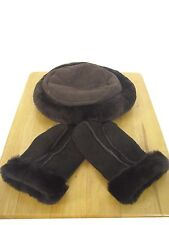 GENUINE REAL SHEEPSKIN HAT AND GLOVES SET