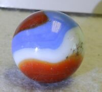 #10686m Large .84 Inches Akro Agate Red White and Blue Corkscrew Marble