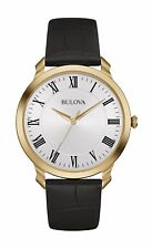 Bulova Men's Classic 97A123 Quartz Gold Tone Case Black Leather Strap 41mm Watch