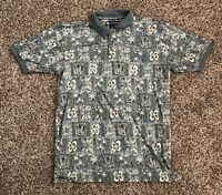 Big Dogs Mens S/S Polo Shirt Large 100% Cotton Casual Hawaiian Flowers Tropical