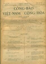CÔNG BÁO VIỆT NAM CỘNG HÒA 1961 with Award KIM KHANH ORDER to KING of MAROC