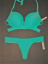 NWT Victoria Secret Seafoam Banded Hottie Thong Swimsuit Bikini 34C S