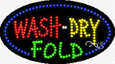"""NEW """"WASH-DRY FOLD"""" 27x15 OVAL SOLID/ANIMATED LED SIGN w/CUSTOM OPTIONS 24489"""