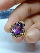White Pave Diamond & Amethyst Gemstone jewelry 925 Sterling Silver Amazing Rings