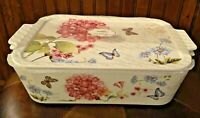 NWT GRACE'S PANTRY CASSEROLE RECTANGULAR HYDRANGEA 3 IN 1 COVERED DISH LIDDED