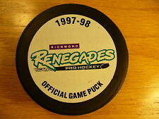 ECHL Richmond Renegades '97-98 Official Game Hockey Puck Check My Other Pucks