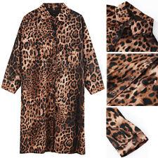 Loose Print Leopard Blouse Chiffon Cardigan Top Shirt Cover up Dress Long Jacket