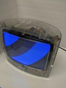 "RCA 13"" CRT TV See Through CLEAR Jail/Prison J13805CL RETRO GAMING W/ SOUND &Box"