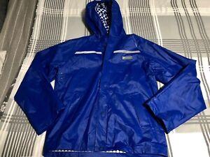 Stearns Dry-Wear Polyvinyl Mens L/XL Rain Royal Blue Jacket Hood Packable Button