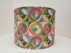 """Retro Fabric Bright Circles Drum Lamp Shade 12"""" Dia 9"""" H"""