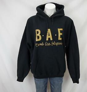 B.A.E Bomb A** Entrepreneur Print Hoodie Sweatshirt Black/Gold Women's Large