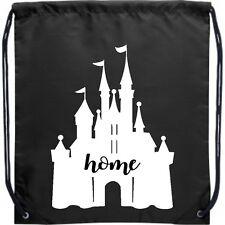 Cinch Backpack Bag Black Castle Home Sleeping Beauty Disneyland World
