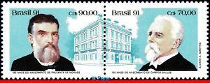 2342a BRAZIL 1991 FIRST CIVILIAN PRESIDENTS, SALLES PRUD. MORAES MI# 2443-44 MNH