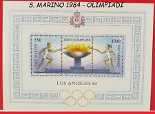 francobolli di S. MARINO MNH 1984 OLIMPIADI in foglietto nuovo da LOS ANGELES