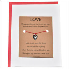 Thoughtful Greeting Card and Wish Bracelet Love with Heart Charm - Charmed