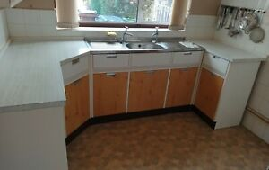 Vintage Kitchen Units, With sink unit, Worktops + Matching Mobile Foldout Table.