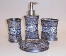 4 Pc Set Silver Gray Glass Mosaic+Resin Soap Dispenser+Soap Dish+Tumbler+Tooth