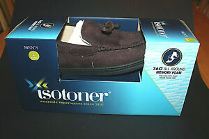 NIB Isotoner Men's Slipper Microsuede Moccasin Dark Chocolate Large 9.5 - 10.5