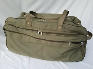 BRIGGS & RILEY LARGE WHEELED DUFFLE BAG OLIVE GREEN LEATHER ACCENTS MILITARY