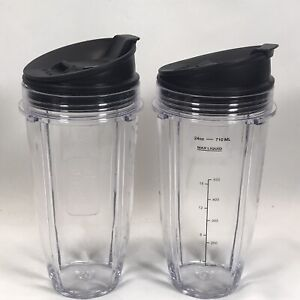 Lot of 2 Nutri Ninja 24 oz Cups w/ Sip & Seal Lids - NEW