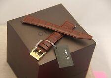 New Gucci 18 MM Dark Brown Croco Leather Strap - 18.102