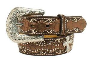 Ariat Western Girl Belt Kids Inlay Scallop Cross Conchos Brown A1302802
