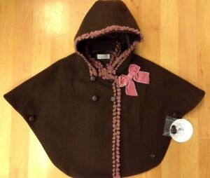 New Winter Romany Spanish Brown and Dusky Pink Girls Cape/Coat/Jacket Age2 - 10