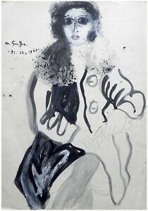 Menachem Gueffen: Young Woman Sitting 1963 / Israeli British French Modern
