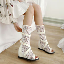 Women Mid-Calf Boots Sandals Mesh Spliced Peep Toe Wedge Heels Back Zipper Shoes