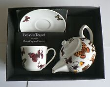 Buttefly 2 cup teapot,with cup and saucer gift boxed. cup,saucer teapot boxed