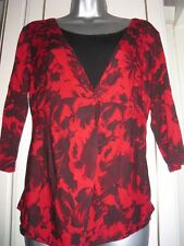 roman originals red & black floral 2 layer effect 3/4 sleeve top size 10