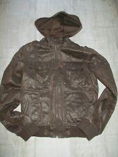 TOPMAN Men's VINTAGE Biker Bomber JACKET Hooded  WAXED Cotton Leather Look SMALL