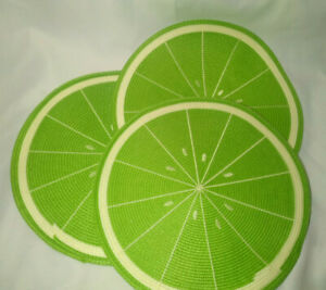 """Round Lime Green Placemats Citrus Set of 3 15"""" Woven"""
