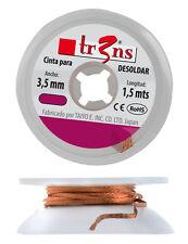 Cinta Malla para desoldar 3,5 mm. Desoldering Wick. De cobre, saturada con Flux.