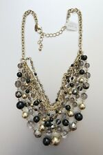 "LIA SOPHIA GOLD TONE GREY/BLACK RESIN 16""-19"" NECKLACE NWT"
