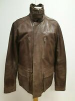 I31 MENS LAKELAND BROWN SLIM FIT LEATHER JACKET UK MEDIUM M EU 48
