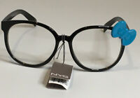 NYS COLLECTION GLASSES STYLE 1776 Cosplay Black Frames with Teal Blue Bow UV400