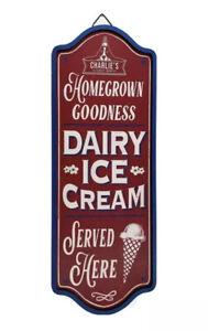 Retro Wooden Ice Cream Shop Wall Sign Restaurant Kitchen Home Decor Plaque
