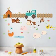 Cartoon Farm Animals Fence Cattle Dog Wall Stickers Living Room Home Wall Decals